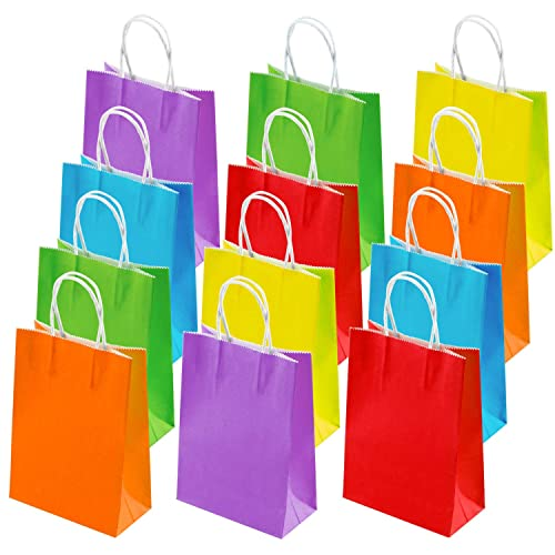 Cooraby 30 Pieces Mini Paper Party Bags 4.72 x 2.36 x 5.9 Inches Small Colorful Gift Bag Party Kraft Bags with Handle for Birthday Wedding Parties Color B