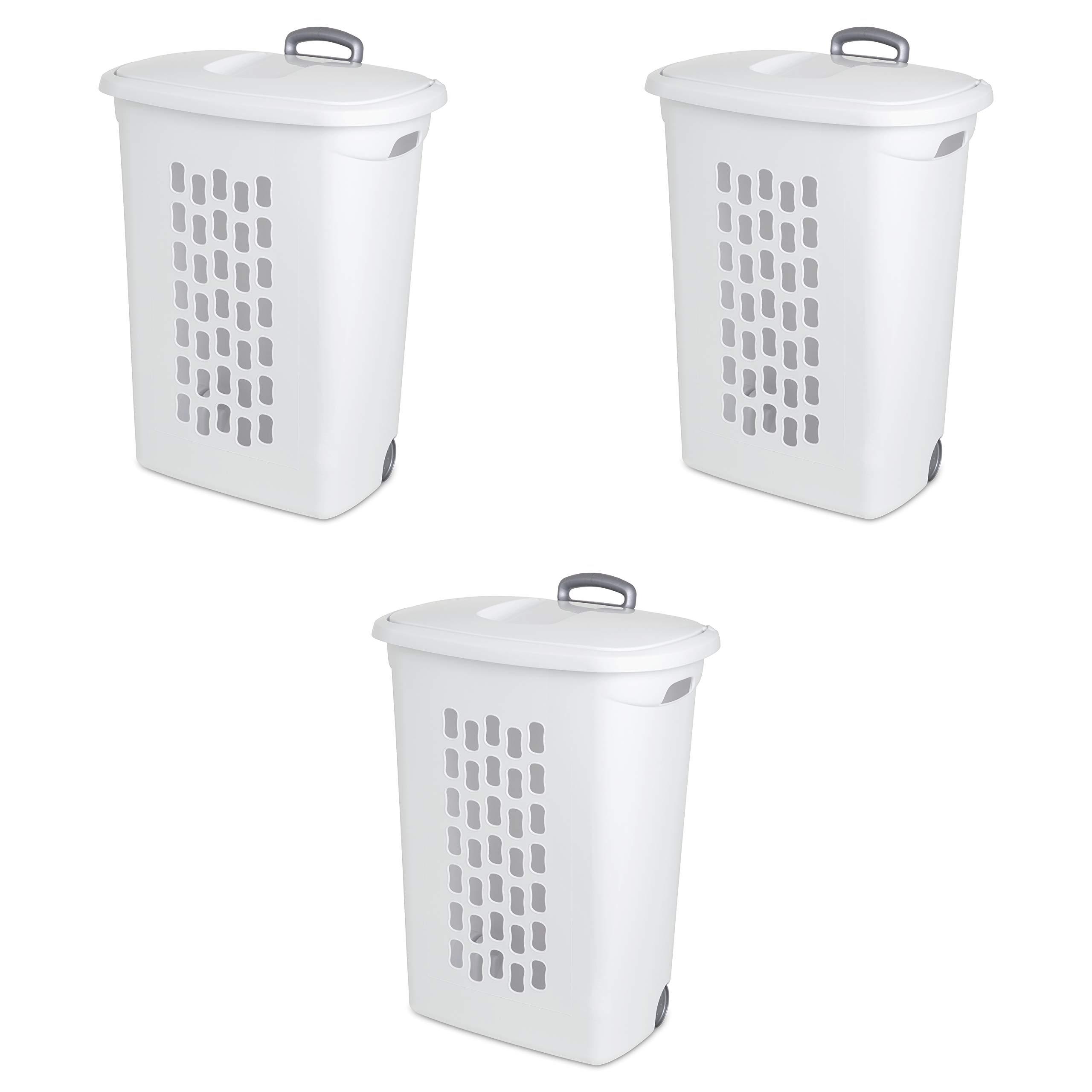 Sterilite 12258004 Ultra Easy Carry Hamper 4-Pack White Hamper w//Titanium Inserts