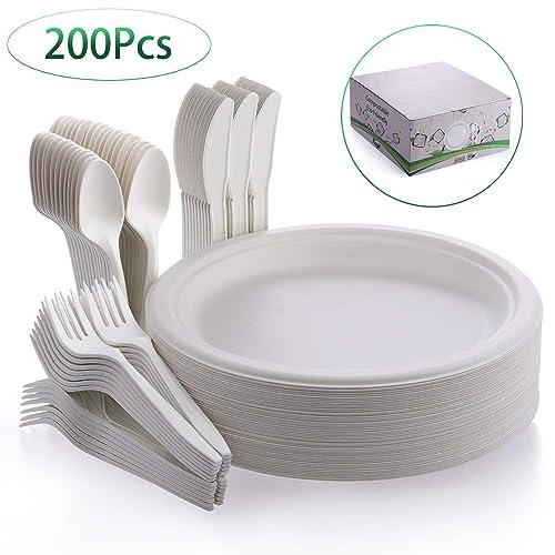 "200 x 9/"" WHITE PAPER PLATE SET 23CM DISPOSABLE PLATES WEDDING PARTY BBQ PICNIC"