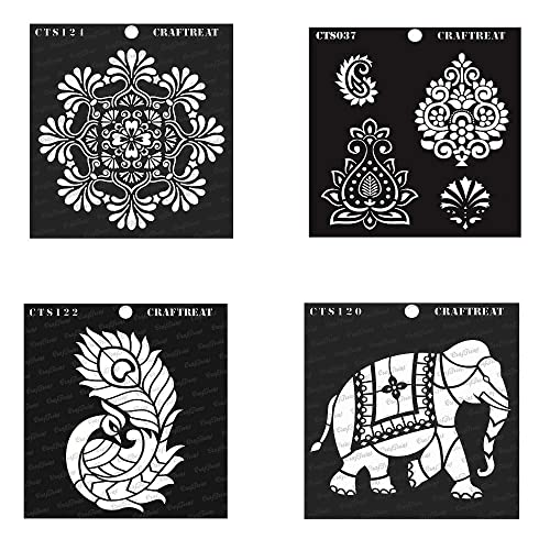 12x12 Inches Reusable DIY Art and Craft Stencils Borders Fabric Stencils Folk Art Paper Wall and Tile Canvas Floor CrafTreat Folk art Stencils for painting on Wood Folkart Borders