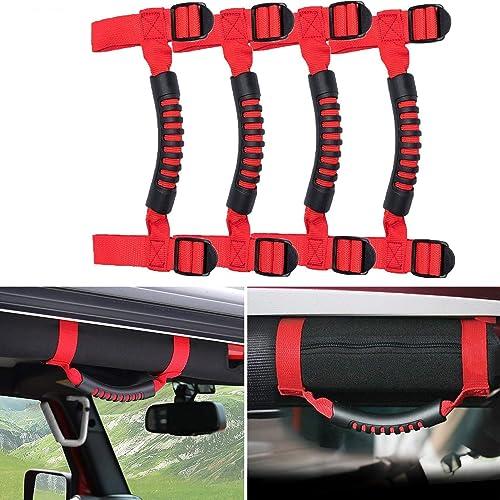 Red, Long Bestong 4Pcs Grab Handles Roll Bar Grip Hand Holder for Jeep Wrangler YJ TJ JK JKU Rubicon Unlimited X 2//4 Door 1995-2018 Pillar Rear Side Rear Seat