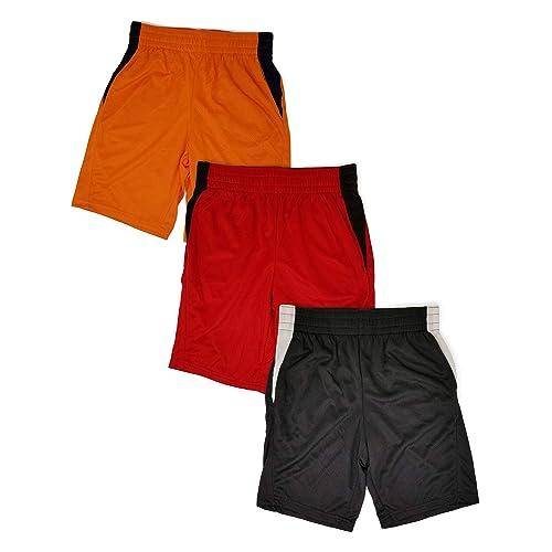 Andrew Scott Boys 3 Pack Active Performance Mesh Style Basketball Sport Shorts