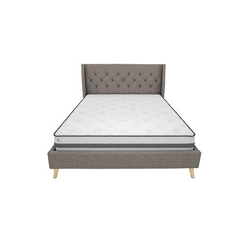 Wooden Legs Queen Size Grey Linen, Her Majesty Upholstered Platform Bed Queen