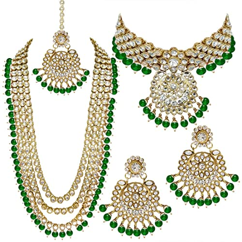 Om Jewells Gold Plated Traditional Ethnic Jewellery Combo of Polki Earrings and Adjustable Ring for Girls and Women Co1000205