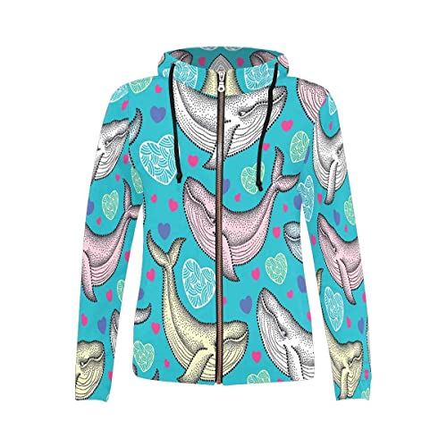 INTERESTPRINT Womens Long Sleeve Mini Hoodie Dress Unicorns and Magic Wands Drawstring Pullover Sweatshirt