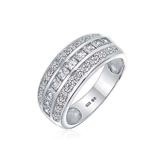 Wishrocks 14K Gold Over Sterling Silver Cubic Zirconia 3-Row Cluster Mens Band Ring
