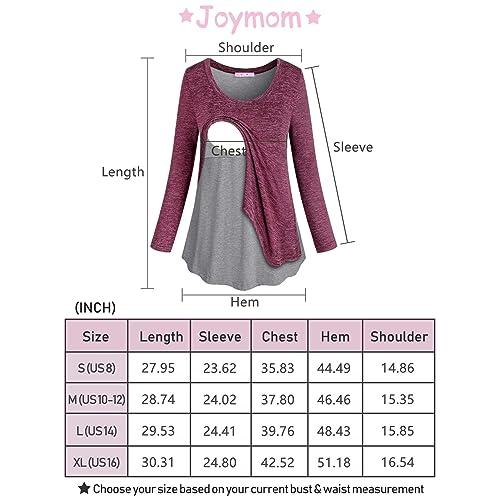 JOYMOM Maternity Long Sleeve Fake Two Pieces Nursing Tops Breastfeeding Shirts