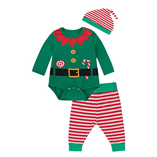 T TALENTBABY Newborn Baby Girls Boys 2pcs Christmas Costume Santa Elf Outfits Romper Baby Christmas Dress Up Elf Costume with Hat