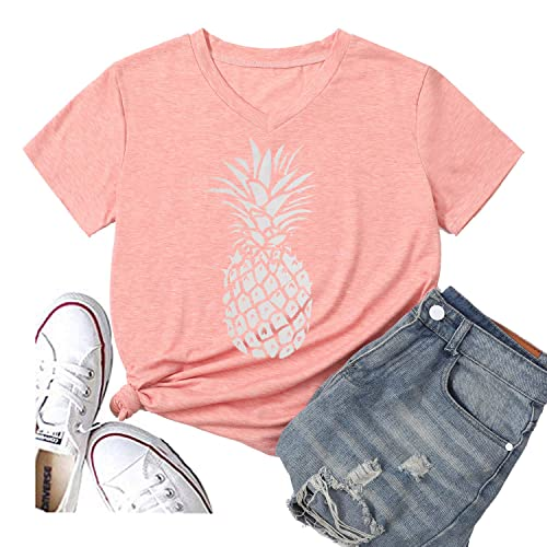Hellopopgo Pineapple Womens Funny Summer Cute T Shirt Lover Short Sleeve Graphic Tees Casual Blouse Tops Vacation Tees