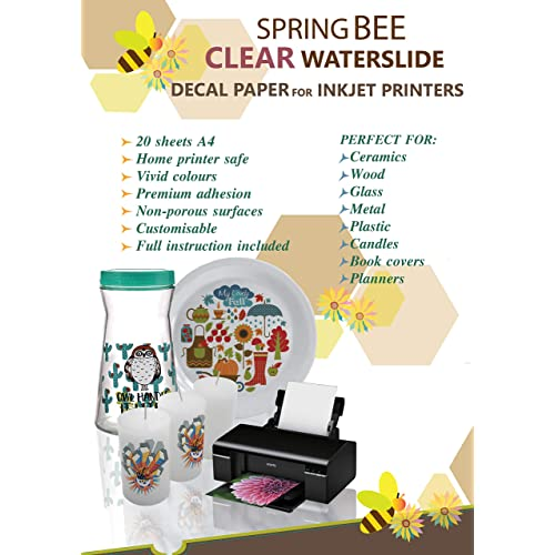 """WATER SLIDE DECAL TRANSFER White inkjet decal paper 20 Sheets A4//8.3/""""x11.7/"""""""