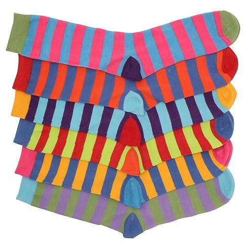 JollyRascals 5 Pairs Boys Socks New Kids Stripe Trainer Sports Gym Socks Cotton Rich Boy 5 PACK Socks Black Red Green Blue Orange Yellow UK Sizes 6-8.5 9-12 12.5-3.5 and 4-6