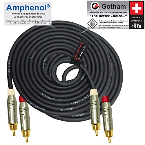 6.35mm Low-Profile CUSTOM MADE By WORLDS BEST CABLES Ultra-Flexible Guitar Bass Effects Instrument Patch Cable with /¼ Inch Gotham GAC-1 R//A Pancake type TS Connectors 5 Units 3 Foot