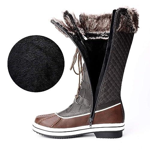 Trary Womens Waterproof Faux Fur Lined Zipper Winter Snow Boots