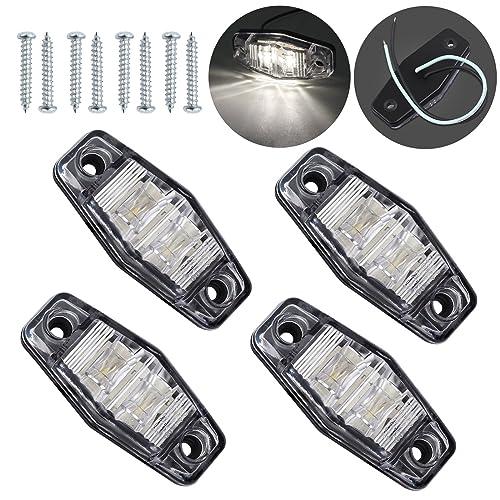 Justech 4 x Side Lights LED Side Marker Lights LED Position Side Lamps 12V 24V Universal Amber-4LEDs