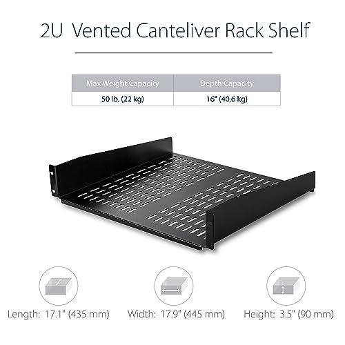 """16/"""" Deep Vented Cantilever Universal Tray Fo Startech.Com 2U Server Rack Shelf"""