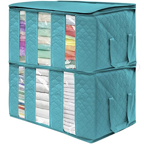3pcs//set Housecraft 3pcs Clothing Storage Bags Organizers Thick Foldable Organization Bags with Large Clear View Window /& Carry Handles for Clothes Blanket Closet under bed dorn room Bedrooms