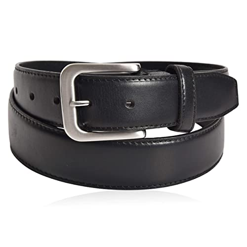 Kaleido Men Classic Dress Leather Belt Genuine Leather with Single Prong Buckle