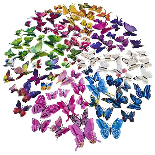 Buy Double Wings 96 X Pcs 3d Butterfly Wall Stickers Colorful Diy Removable Art Decor Crafts For Nursery Classroom Offices Kids Girl Boy Baby Bedroom Bathroom Living Room Magnets And Sponge Glue