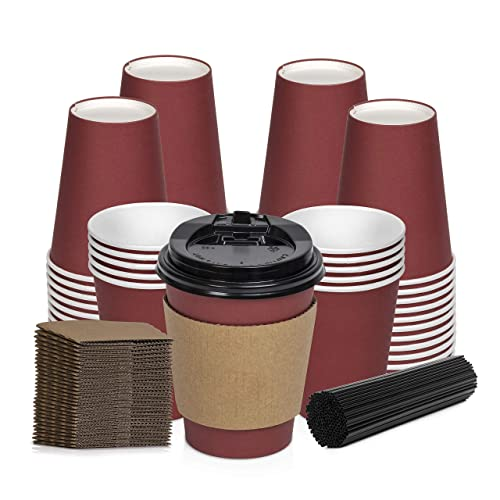 4 Colors Lids Sleeves 100 Pack 12 Oz 16 Oz Cranberry Red Stirring Straws Disposable Hot Paper Coffee Cups