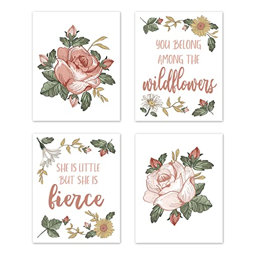 Buy Sweet Jojo Designs Vintage Floral Boho Wall Art Prints Room Decor For Baby Nursery And Kids Set Of 4 Blush Pink Yellow Green And White Shabby Chic Rose Flower