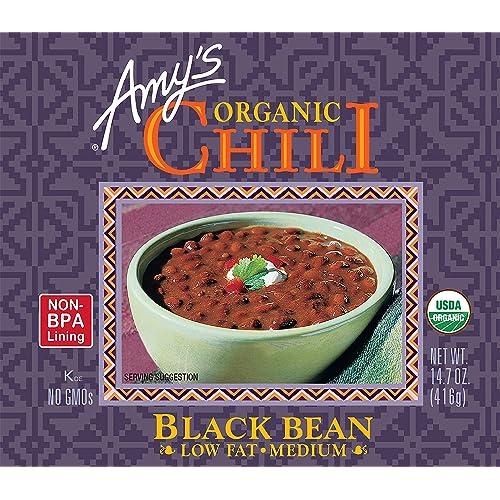 Buy Amy S Organic Black Bean Chili Low Fat Usda Organic 14 7 Ounce Pack Of 12 Online In Oman B000g176eg