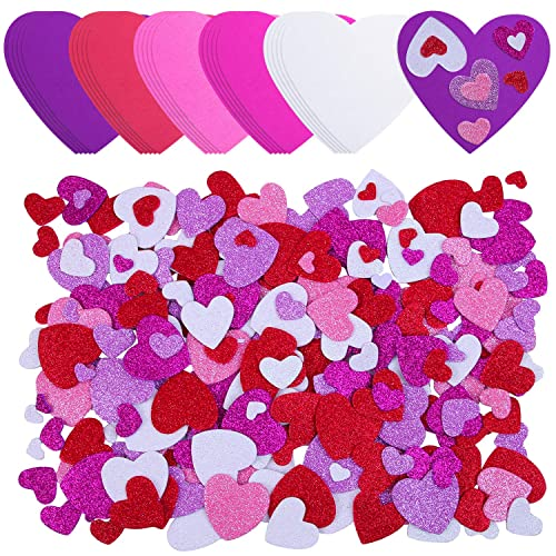 Ruisita 500 Pieces Valentines Day Heart Shaped Foam Stickers in Pure Color Printed Letters 8 Colors 3 Sizes Self-Adhesive Stickers for Valentines Day Scrapbooking Craft Decorations