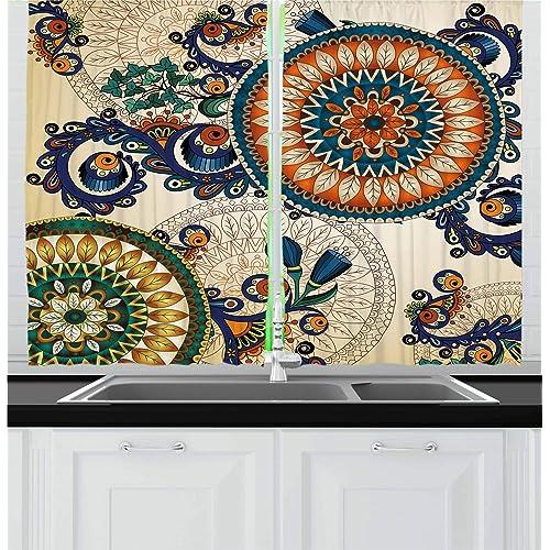 India Curtains Ethnic Vintage Henna Boho Window Drapes 2 Panel Set 108x84 Inches