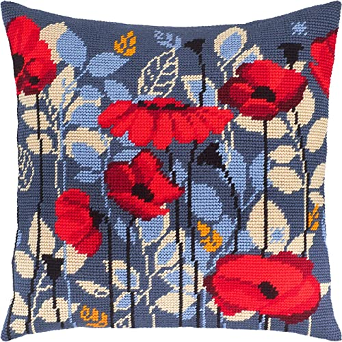 European Quality A Cat in Poppies Printed Tapestry Canvas Needlepoint Kit Throw Pillow 16/×16 Inches