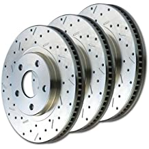 SSBC 23140AA3L Drilled Slotted Plated Front Driver Side Rotor for 2000-01 Ram 1500 2WD