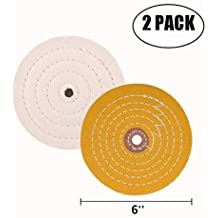 SCOTTCHEN Extra Thick High Grade Cloth 6 Inch Buffing Polishing Wheel White Cotton Fine For Bench grinder With 1//2 Arbor Hole 2pcs 90 Ply