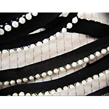 "Unotrim 1.25/"" Italy Ivory Black Gimp Braid Corded Trim Sewing Crafts By Yardage"