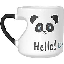 45cc05ad4 InterestPrint Hello Panda Animal Smiling Bear Heart-shaped Morphing Mug,  Funny Heat Sensitive Color Changing Coffee Mug Tea Cup for .