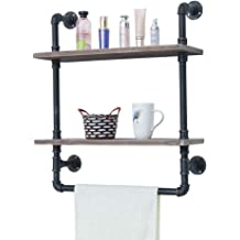 Industrial Bathroom Shelves Wall Mounted 2 Tiered Rustic 24in Pipe