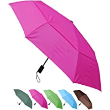 COLLAR AND CUFFS LONDON Auto Open /& Close Burgundy Red Folding Umbrella Windproof COMPACT YET STRONG Vented Canopy