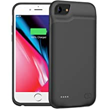BioRing Battery Case for iPhone 8 6 // Plus with 5000 mAh Extended Battery Pack Light Weight Charge Case 6S 7 Black, iPhone 6 7 8//4.7