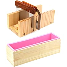 Silicone soap molds kit Stainless Steel Wavy /& Straight Scraper for Soaps Making molds- C 2 Pcs Flexible Rectangular Soap Silicone Mold with Wood Box