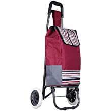 Color : Brown Trendy Folding//Collapsible Push//Pull Carts Bag with Wheels DNSJB Large Capacity Lightweight Shopping Trolley