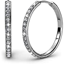 9dd97d792 Cate & Chloe Bianca 18k White Gold plated brass Hoop Earrings with Swarovski  Crystals,