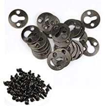 100 Pieces Metal Round Type Keyhole Shelf Brackets Hangers for Picture Frame Hanging Silver Tone