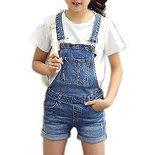 f7185fefe Sitmptol Girls Little Big Kids Distressed BF Jeans Cotton Suspender Denim  Bib Overalls 1P