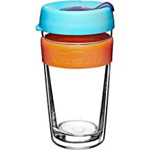 426592f6859e KeepCup 16oz Reusable Coffee Cup. Toughened Glass Cup With Silicone Band  & Clear Plastic