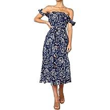 Blue, Free LIEJIE Women Short Sleeves Loose Rose Print Mini Dress T Shirt Blouse HotPink BlueIce Silk Dress Rose Ice Silk Dress Rose