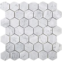 Diflart Blue Moonstone 2 Inch Hexagon Marble Mosaic Tile Pack of 5