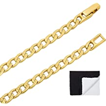 The Bling Factory 1.5mm 25 Mills 24kt Gold Plated Mariner Link Chain