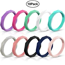 Ninge Tree Texture Design Silicone Wedding Rings,Engagement Bands Stackable Rings,5.5mm Wide Size 4 5 6 7 8 9 10-10 Pack