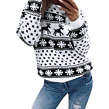 FANSHONN Womens Ugly Christmas Sweater Reindeer Printed Round Neck Long Sleeve Sweatshirt Casual Pullover Tops