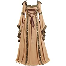 Clearance Renaissance Dress,Forthery Womens Medieval Costume Dress Lace up Irish Over Long Dresses Cosplay Retro Gown Black,S 2020