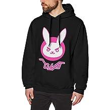 Mens Hooded Sweatshirt Overwatch Dva Bunny Logo Original Retro Literary Design Black