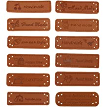 CUTICATE 20Pcs//Pack Leather Handmade Label Tags for DIY Sew Clothes Craft Embellishment Knit DIY Patches Brown 002 as described