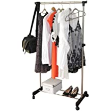 Metal/ Clothes/ Rack/ Heavy/ Duty/ Commercial/ Grade/ Clothing/ Garment/ Free Standing/ Rack/ with/ Top/ Rod/ and/ Lower/ Storage/ Shelf/ for/ Coat/ Organizer/ Laundry/